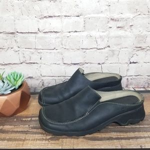 Timberland Black Leather Lugg Sole Mule Loafer